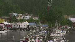 Ketchikan Alaska Tilt Down With Boat Marina. All Logos, and ID Removed - stock footage