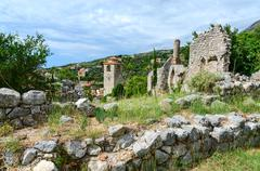 Ruins of church of St. Catherine and Clock tower, Bar, Montenegro Stock Photos