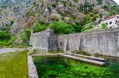 Fortification Bastion Riva near river Shkurda, Old Town, Kotor, Montenegro - stock photo