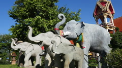 Elephant Statues at Buddhist Temple Stock Footage
