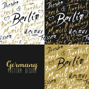 Travel germany europe berlin seamless pattern gold Piirros