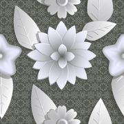 SSeamless background abstract illustration of nature. Figure 3D, flowers. - stock illustration