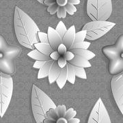 Seamless background abstract illustration of nature. Figure 3D, flowers. - stock illustration