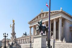 Austrian Parliament Building in Vienna Stock Photos