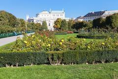 Volksgarten park and Burgtheater building, Vienna Stock Photos