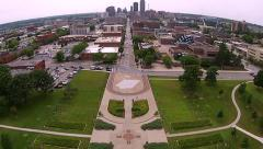 Stock Video Footage of Aerial approach to downtown Des Moines, Iowa