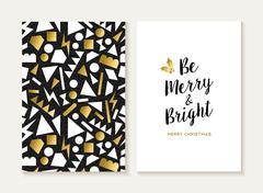Merry christmas card gold retro 80s pattern - stock illustration