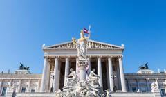 Athena fountain and Parliament Building, Vienna Stock Photos
