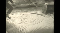 Vintage 16mm film, 1938, whaling, whale walking on blubber carving up - stock footage
