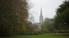 Salisbury Cathedral autumn fog, England, UK, Europe Stock Footage