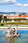Stock Photo of sculpture and view of Belvedere palace, Vienna