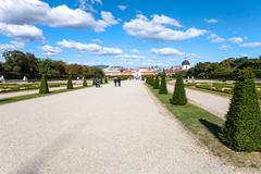 Stock Photo of paths to Lower Palace in Belvedere garden, Vienna