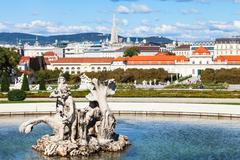 Stock Photo of statue and view of lower Belvedere palace, Vienna
