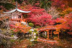 Daigoji temple in maple trees, momiji season, Kyoto, Japan Stock Photos