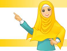 Muslim Woman Wearing Yellow Veil with Pointing Arms Cartoon Character Stock Illustration