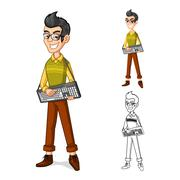 Happy Boy with Geek Style Cartoon Character - stock illustration