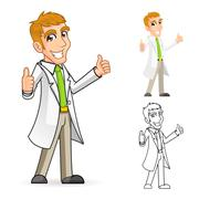 Scientist Cartoon Character with Thumbs Up Arms Stock Illustration
