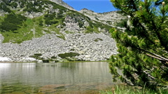 Low angle shot of a beautiful lake in the mountain Pirin, Bulgaria, dolly Stock Footage
