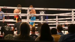 Two Sportsmen Boxing On The Ring Stock Footage