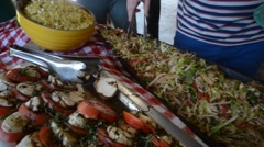 Buffet table at fancy outdoor barbecue party Stock Footage