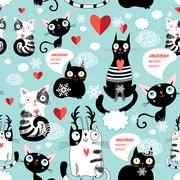 Beautiful cat lover pattern Stock Illustration