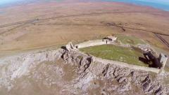 The ruins of medieval fortress Yeni-Sale (aerial view) in Dobrogea, Romania Stock Footage