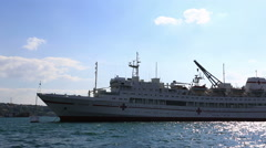 Russian Navy hospital ship Yenisey under autumn sky, Crimea Stock Footage
