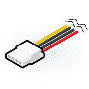 Isometric 4 Pin Power Connector Stock Illustration