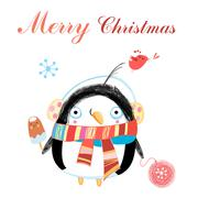 Stock Illustration of New year greeting card with penguin