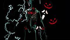 Skeleton horror Halloween pumpkin Stock Footage