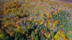 Aerial video of peak fall foliage NH - stock footage