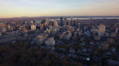 4K aerial drone shot of montreal skyline high forward move at sunset Stock Footage