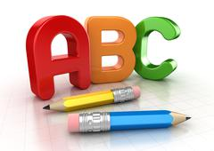 Abc text and pencil Stock Illustration