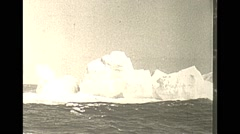 Vintage 16mm film, 1938, at sea, icebergs and skipper Stock Footage