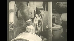 Vintage 16mm film, 1938, whaling, ships wheel crew Stock Footage
