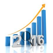 New year growth chart with magnifying glass, 3d render - stock illustration