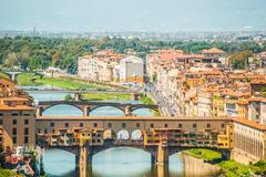 Pone Vecchio over Arno river in Florence, Italy Stock Photos