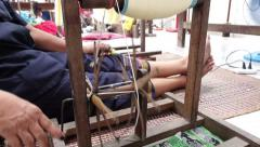 Traditional handmade silk textile weaving in Thailand, HD Stock Footage