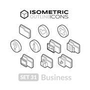Isometric outline icons set Stock Illustration