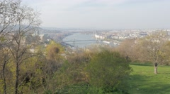 City scape of Budapest and river Danube from Gellert hill slow tilt  4K 3840X Stock Footage