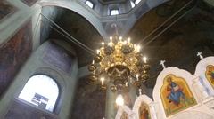 Big chandelier and icon in church Stock Footage