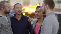 Two Couples Hang Out And Chat In The Castro In The Evening - stock footage