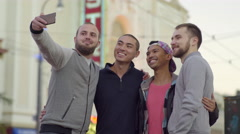 Two Gay Couples Pose For Selfie Together, Then Look At Photos On Phone Stock Footage