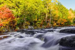 Mill Falls along the Mersey River in fall (Kejimkujik National Park, Nova Sco - stock photo