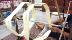 Traditional handmade silk textile weaving in Thailand, 4K Stock Footage