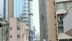 Local Market Street, Wan Chai, Central District. View from above. Tilting shot. Stock Footage