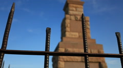 Close up iron fence cemetery Stock Footage