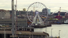 Seattle Waterfront View With Great Wheel Stock Footage