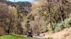 Stock Video Footage of time lapse cars curvy mountain road
