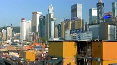 Hong Kong Cityscape. Wan Chai District. Panning shot. Stock Footage
